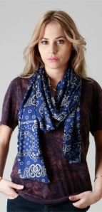 Mint Owl - Blue Cross Skinny Scarf